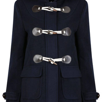 Navy Horn Button Duffel Coat