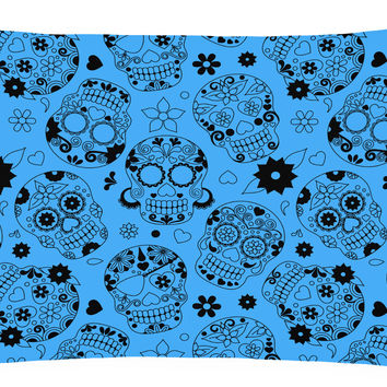 Day of the Dead Red Canvas Fabric Decorative Pillow BB5120PW1216