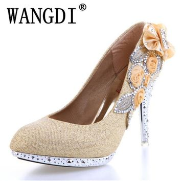 2017 women high heels prom wedding shoes lady crystal platforms silver Glitter rhinestone bridal shoes thin heel party pump
