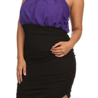 Beaded Cutout Halter Mini Dress - Purple - Plus Size