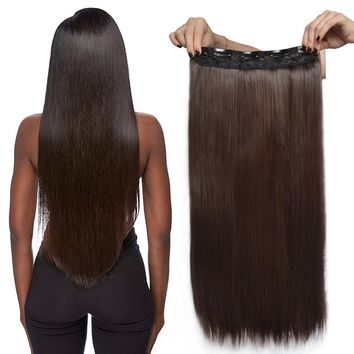 2017 New Fashion Sexy Girl's Straight / Curly Clips In on Hair Extensions