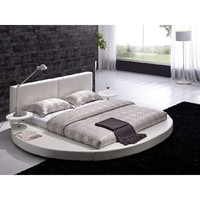 King Size Round Bed with White Leather Headboard & Nightstands