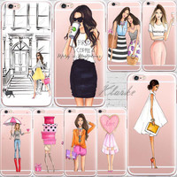 Beautiful Girl drink coffee Design Transparent TPU Case Cover For Iphone 6 6s 5 5s SE 7 7Plus Fashion Cell Phone Cases