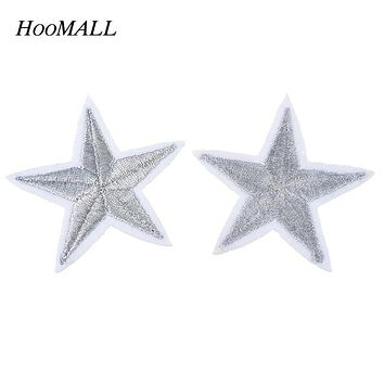 Hoomall Brand 10PCs Silver/Gold Stars Embroidered Badges Iron On Patches For Clothing Cartoon Motif Applique Sticker For Clothes