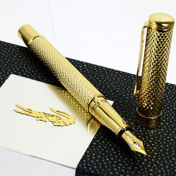 Crocodile 22kgp Executive Golden Raised Fountain Pen with Push in Style Ink Converter