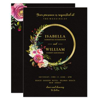 Modern Chic Floral Gold Black Wedding Invitation