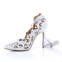 LTTL Top quality Women Impera Laser cut Pumps 12CM High Heels Gold Pumps Lace up Cut outs Pointed Toe Women Wedding Shoes -in Women's Pumps from Shoes on Aliexpress.com | Alibaba Group