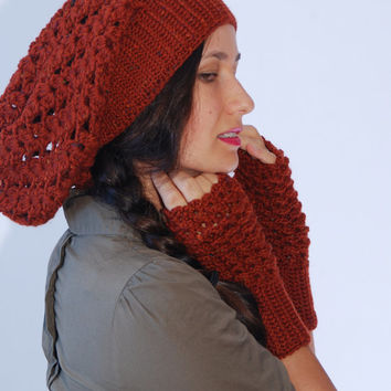 Crochet brick red  beanie hat, merino wool blend hat, woman accessories, winter wool hat,  fall winter fashion,, slouchy ribbed hat