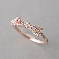 CUBIC ZIRCONIA SPACKLING RIBBON BOW RING ROSE GOLD BOW JEWELRY from Kellinsilver.com
