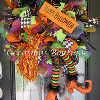 Wicked Witch Halloween Wreath, Halloween Wreaths, Halloween Decoration, Witch Wreath, Door Hanger, RAZ, Ready to Ship