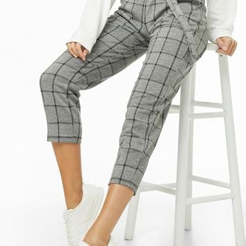 Belted Houndstooth Capri Pants