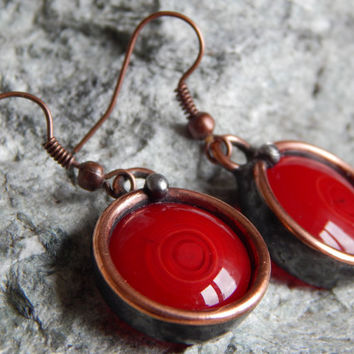 Handmade earrings Red magic earrings Steampunk for women Vintage jewelry Round earrings Unique gift For her Gift for mom Gift for sister