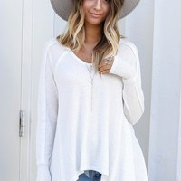 Feels Right White Waffle Knit Top