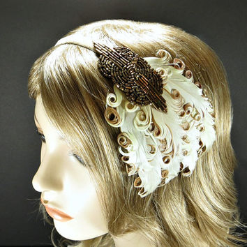Art Deco Headpiece Roaring 20s Great Gatsby Flapper Girl Fascinator Bronze Beading with Tan Brown Feathers on Champagne Ribbon Headband