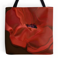 Red Poppy Tote Bag, Small Shopping, Shoulder Bag, Abstract Flower Art, Valentine Gift