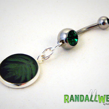 Luxurious Fern and Green Rhinestone and Resin Charm Belly Ring