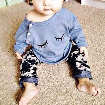 Spring Infant Baby Girls Clothes Cute Cotton Blend Long Sleeve Eyelash T-Shirt Pants Outfits Cute Kids Clothing 2pcs/Set