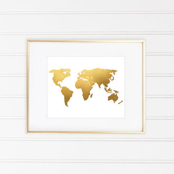 Shop gold foil world maps on wanelo world map print world map art faux gold foil gold foil print gumiabroncs Choice Image