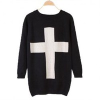 Retro Loose-Fitting Scoop Neck Cross Pattern Solid Color Long Sleeves Cotton Blend Sweater For Women