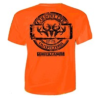 Country Life Outfitters Triple Deer Skull Southlands Hunt Vintage Unisex Orange Bright T Shirt