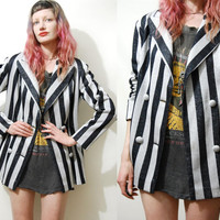 70s Vintage JACKET Striped METALLIC Black / White Silver Blazer Coat Double-Breasted Glam 1970s vtg M