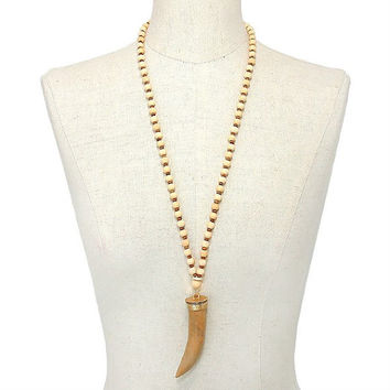 Gold & Neutral Brown Horn Pendant Wooden Bead Strand Long Necklace
