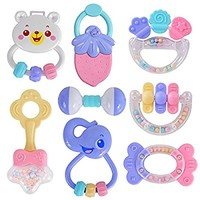 HAHA Baby 8pcs Rattles Teethers Set Grab and Spin Shaking Bell Rattle Gift Toy Set for Infant Newborn Toddler Girl Boy, Candy Colors