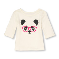 Toddler Girls Active Elbow Sleeve Embellished Animal Graphic Top | The Children's Place