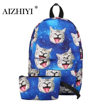 School Backpack 2Pcs Backpack 3D Preppy Printing BackPack Travel Softback Notebook Bag Mochila  For Girls Bagpack Set AT_48_3