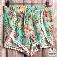 Floral Pom Shorts | Jane Divine Boutique