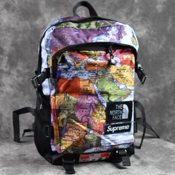 Supreme x The North Face Fashion Women Men School Backpack Travel Bag