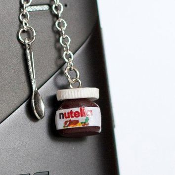 Nutella Miniature Polymer Clay Anti Dust Plug For Phone With Tiny Teaspoon