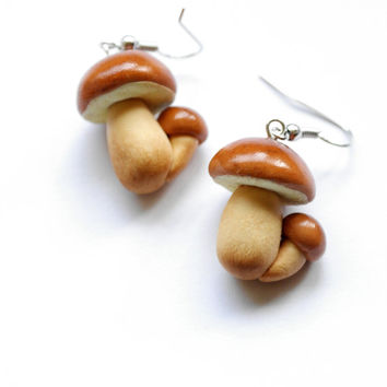 Mushroom earrings Boletus Edulis Porcini earrings, Cèpes earrings, Steinpilz, King Bolete, Fungus earrings
