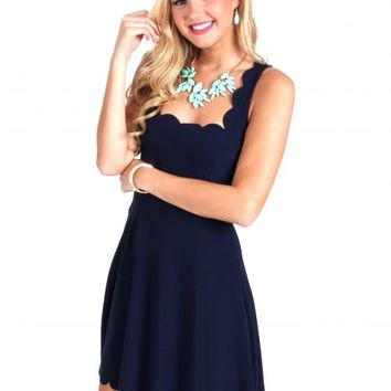 Hold It Together Navy Scalloped Dress | Monday Dress Boutique