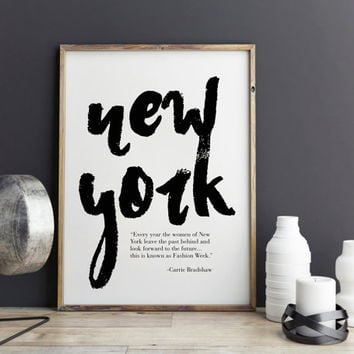 New York Fashion Print - New York Travel Poster, Wall Art Typography Poster