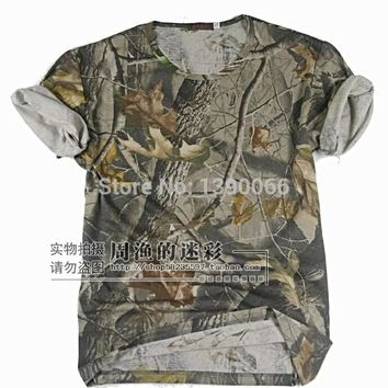 Tactical Camouflage clothes cotton camo T-shirts for summer Outdoor Sports spnier bow hunt camping hiking fishing hunting