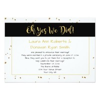 Modern Black White Gold Sparkles Reception Only Card