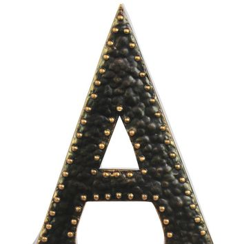 Metal Wall Decor Letter A with Rivets - Dark bronze