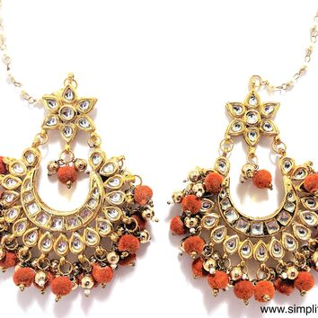 Orange felt bead hanging Kundan Earring