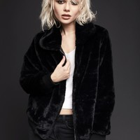 Paint it Black Faux Fur Jacket with Ribbing