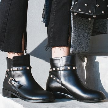 Black Leather Stud Buckle Strap Ankle Boots