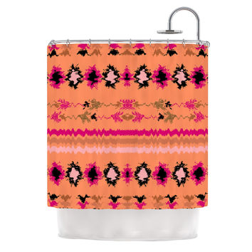 "Nina May ""Peachy Nava"" Orange Tribal Shower Curtain"