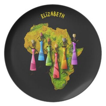 African Women In Colorful Dresses On Africa Map Melamine Plate