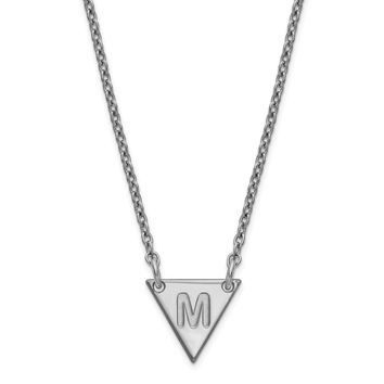 Sterling Silver Personalized Engraved Tiny Triangle Pendant Block or Script Initial Necklace