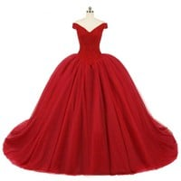 Beads Crystal Wedding Dress Ball Gowns Off the shoulder Red Tulle Wedding Gowns