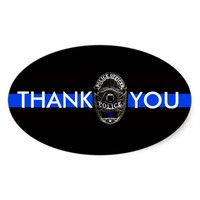 THANK YOU BACK THE BLUE OVAL BUMPER STICKER