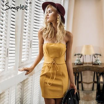 Simplee Sexy leather suede bodycon dress Women elegant tie up waistband vintage dress Party strapless autumn winter dress 2017