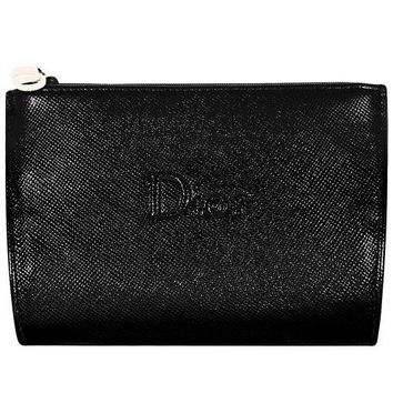 Dior Beaute Counter Gift - Black Faux Leather Cosmetics Makeup Toiletry/Coin Case Pouch Bag - (see size)