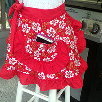 Sexy Half Apron with Red Ruffles, Holiday Red Hibiscus Half Apron, Christmas Flower Apron, Petite Juniors Misses Apron, Flirty Skirt Apron