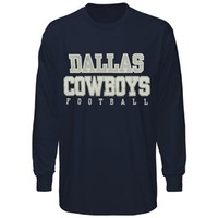 Reebok Dallas Cowboys Practice Long Sleeve T-Shirt - Navy Blue
